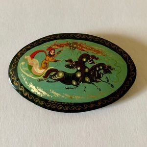 Rare Russian Lacquer Brooch w/ Mythical Theme